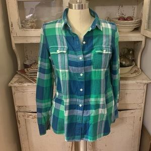 Old Navy Plaid Button Down Sz S